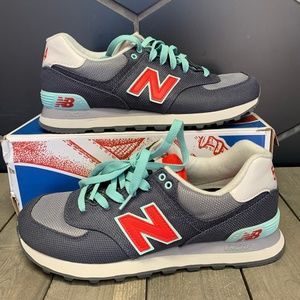 Womens New Balance 574 Grey Teal Sneaker Size 9